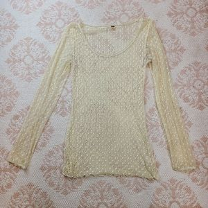 Free People Ivory Cream Sheer Netted Dot Top